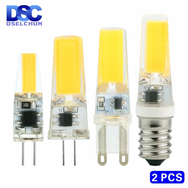 2pcs/lot LED G4 G9 E14 3W 6W Light Bulb AC/DC 12V 220V LED Lamp COB Spotlight Chandelier Replace Hal