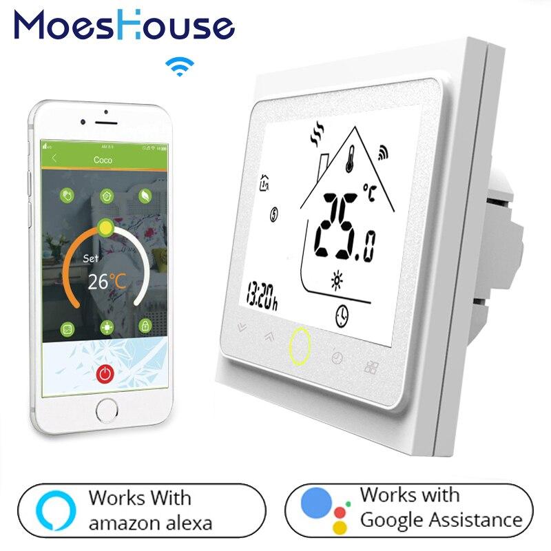 ترموستات ذكي WIFI للتحكم في درجة الحرارة, تدفئة الأرضية كهربياً/ بالماء، غلاية ماء/غاز، يعمل مع Alexa Google Home