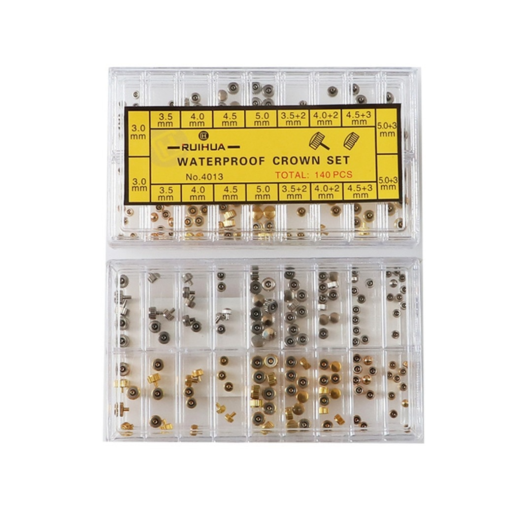 Plana para Quartzo Relógio de Pulso Sortidas Cobre Relógio Coroa Mix Estilo Cúpula Cabeça Peças Reposição Reparação Kits 140 Pçs