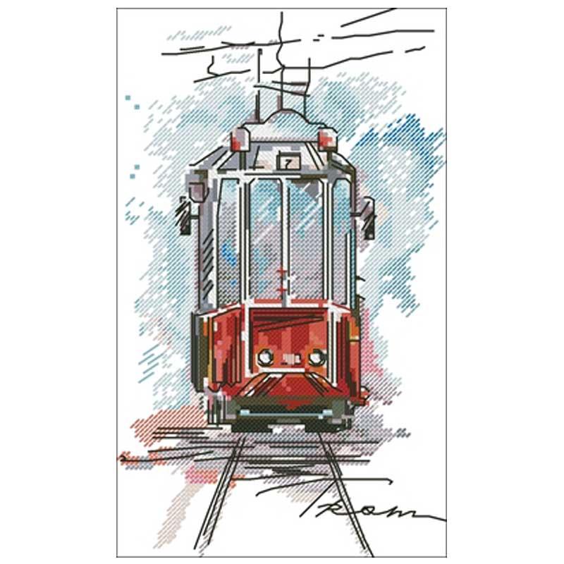 City tram scenery patterns Counted Cross Stitch 11CT 14CT 18CT DIY Cross Stitch Kits Embroidery Needlework Sets home decor