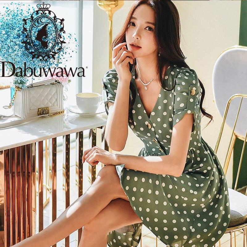 Dabuwawa Vintage Dot imprimer bouton avant robe femmes élégant col en V bouffée manches robe robes de soirée femme DT1BDR007