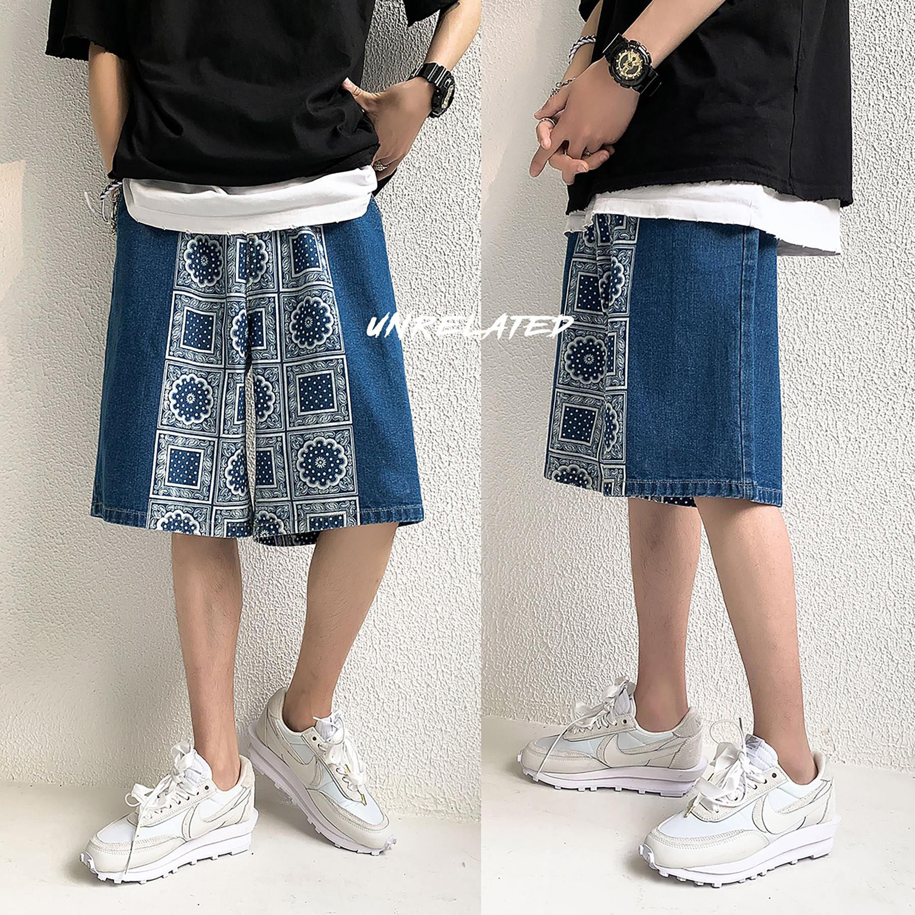 Summer Cashew Flower Denim Shorts Men's Street Fashion INS Outer Wear Thin Section Straight Half Pants Loose Couple Bottoms Hot