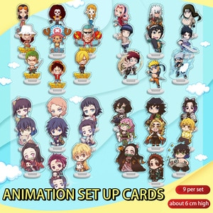 9 mini stand-up sets, Demon Slayer, Pirate, anime stand-up keychains, and accessories combination decorations