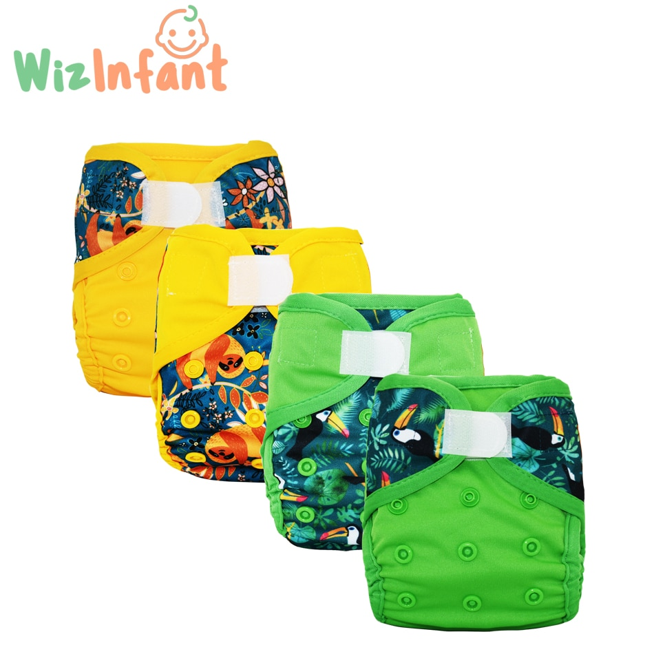 WizInfant 4PCS Newborn Cloth Diaper Cover Baby Diapers ECO-friendly Waterproof Cover Nappies Reusable Washable Adjustable Pocket