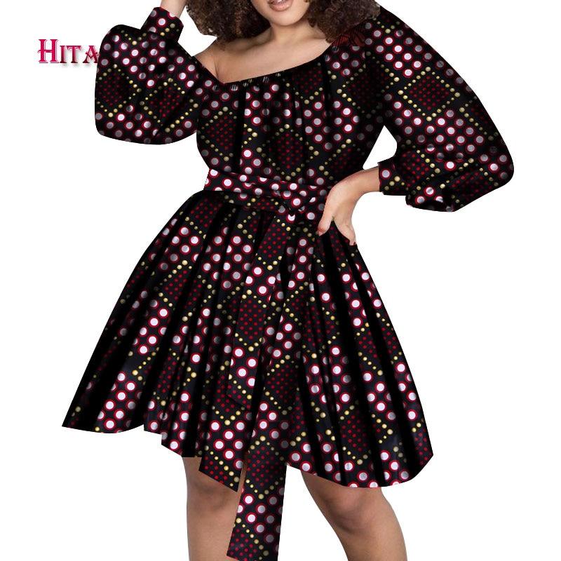 2020 Summer Women African Print Dress Dashiki Bubble Sleeve Slash Neck Sexy Short Dress Anakra African Clothes WY7168 недорого