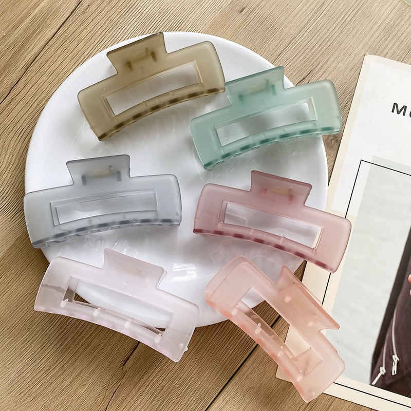 Large Size Hollow Square Hair Clamp Grab Clip Geometric Hair Claw Shark Clip Barrettes Jelly Color Hair Clip Hair Accessories