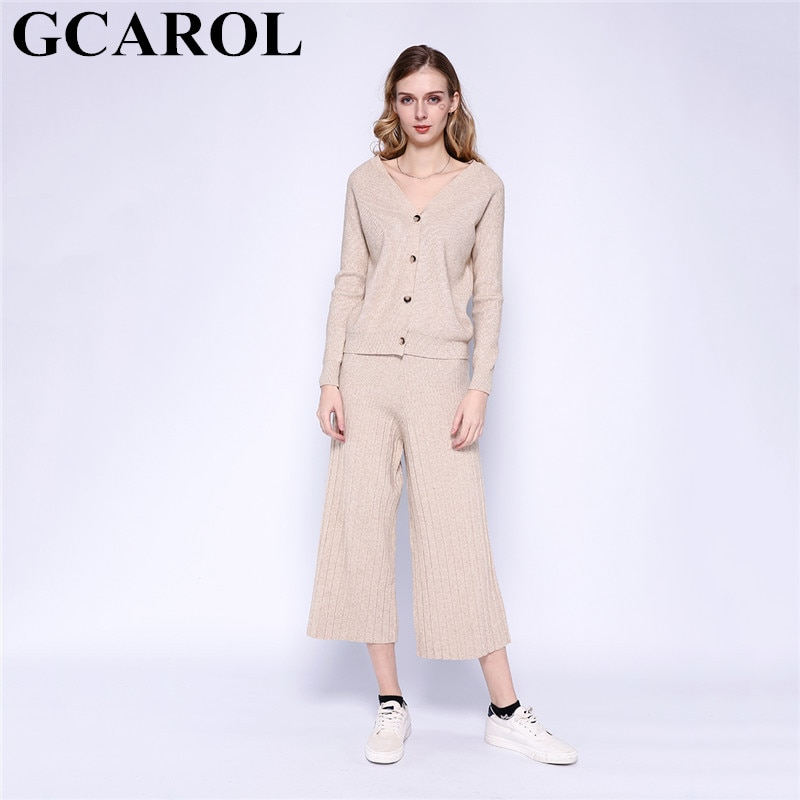 GCAROL New Women's sets V Neck Cardigan And Wide Leg Pants 2 pcs Set Knit Top Elastic Waist Pants Leisure Fall Winter Outfits