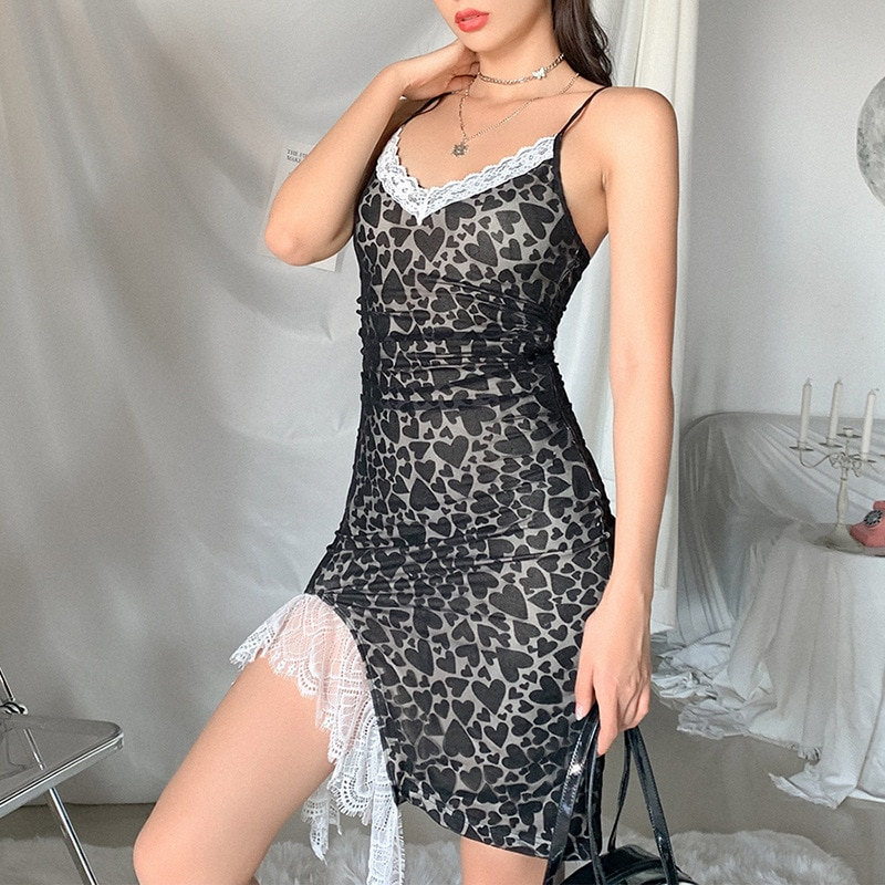 Women's Mini Dress Lace Spaghetti Strap Dress Sexy Slim Sling Bag Hip Split V Neck Club Dresses for Women Streetwear High Waist