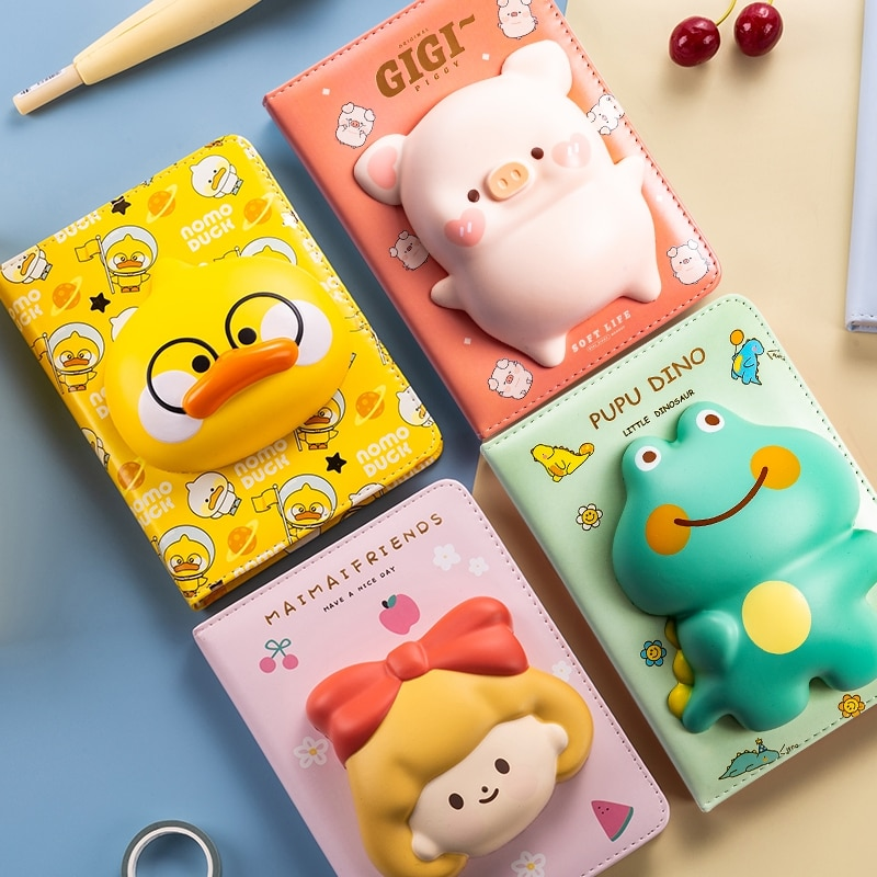 a5 illustration color page diary thick girl heart cute hand book korean student stationery notebook creative kawaii diary Cute Creative Slow Rebound Decompression Notebook Student Cartoon Coloring Page Diary Handbook A5 Notepad Stationery