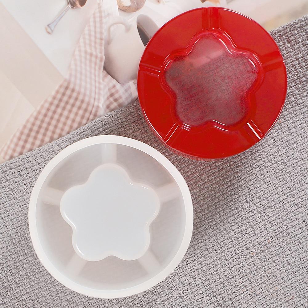 Molde blando de silicona para Cenicero redondo, soporte para Cenicero, forma de flor de ciruelo portátil, molde para Cenicero DIY, molde de artesanías