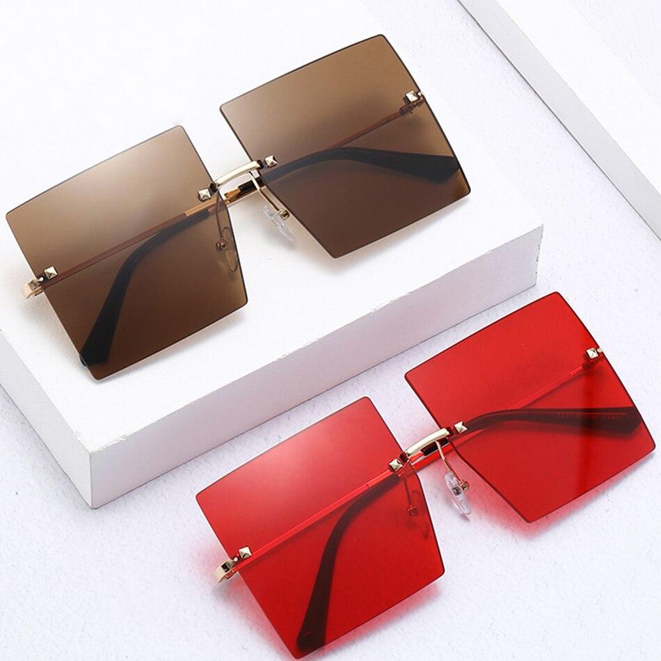 2020 nowa luksusowa marka przezroczyste czerwone różowe ponadgabarytowe okulary przeciwsłoneczne dla kobiet Rimless duża kwadratowa okulary przyciemniane odcienie kolorów okulary