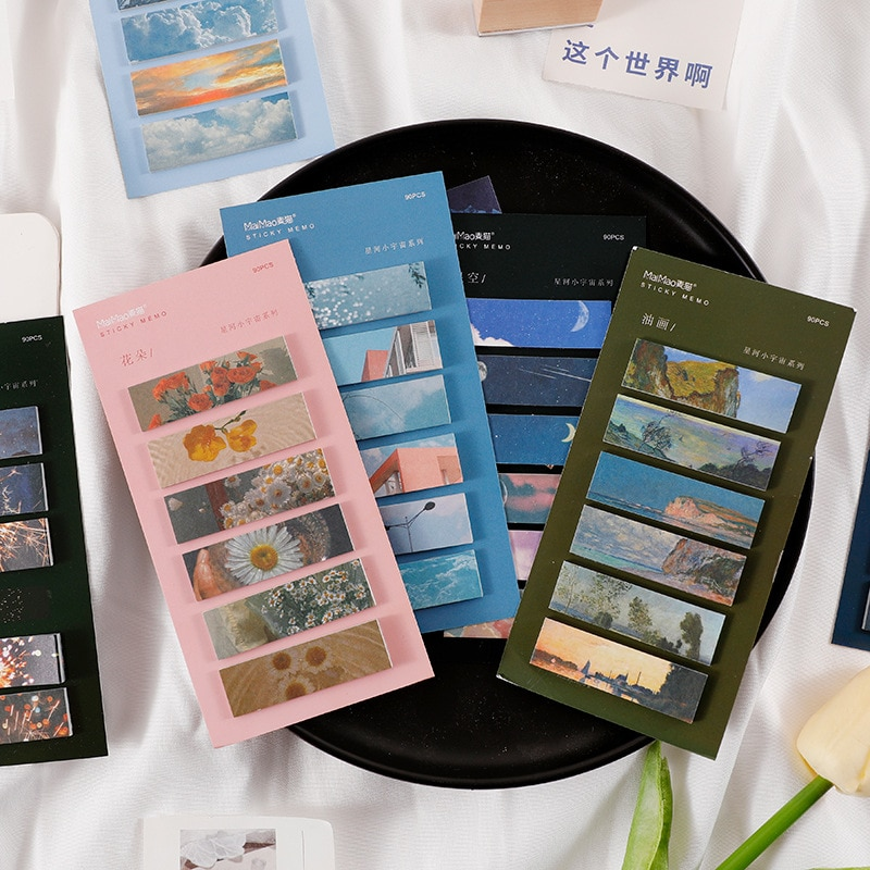 90 sheets/set INS Style Fancy Scenery Self-Adhesive Sticky Notes Memo Pad To Do List Planner Sticker Cute Stationery Gift