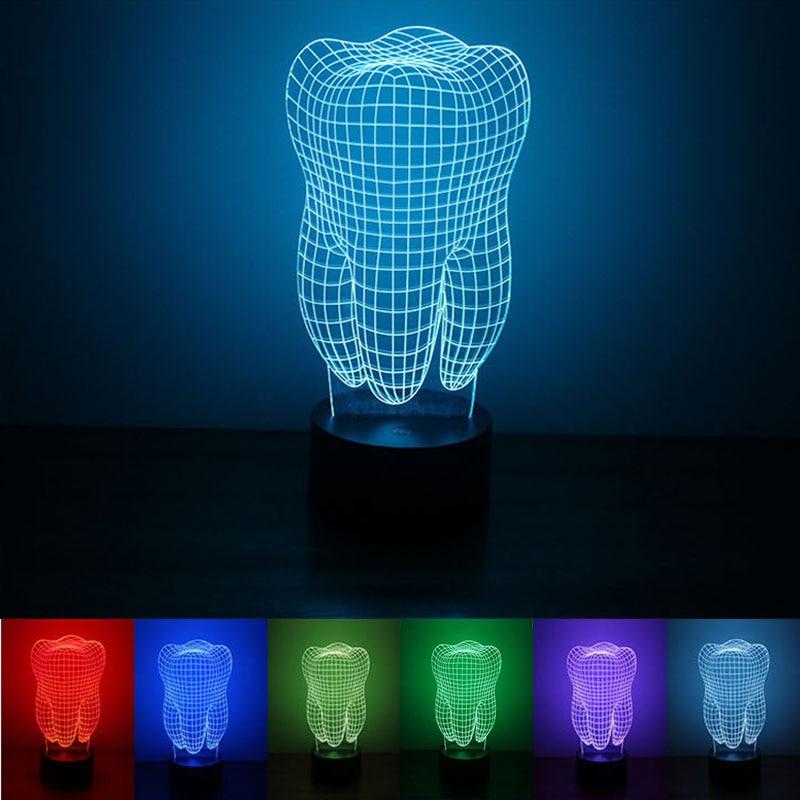 3D ночник с питанием от USB, светодиодный светильник в форме зуба, настольная лампа с сенсорным ключом, декоративный светильник для дома, отеля...