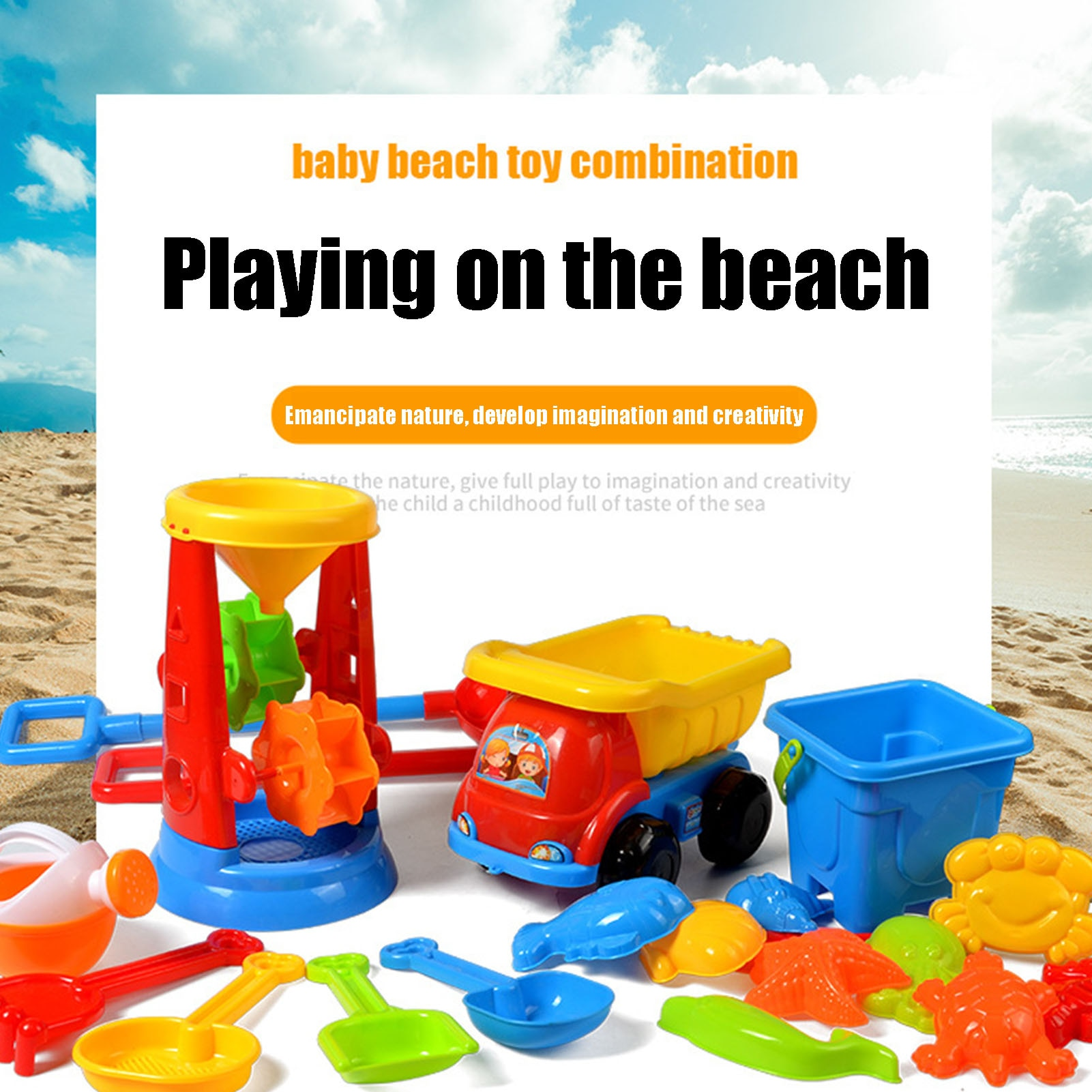 kids sand Beach Toys For Kids Play Water Toys Sand Box Set Kit Sand Table Sand Bucket Summer Toys For Beach Play Sand Water Game Play Cart