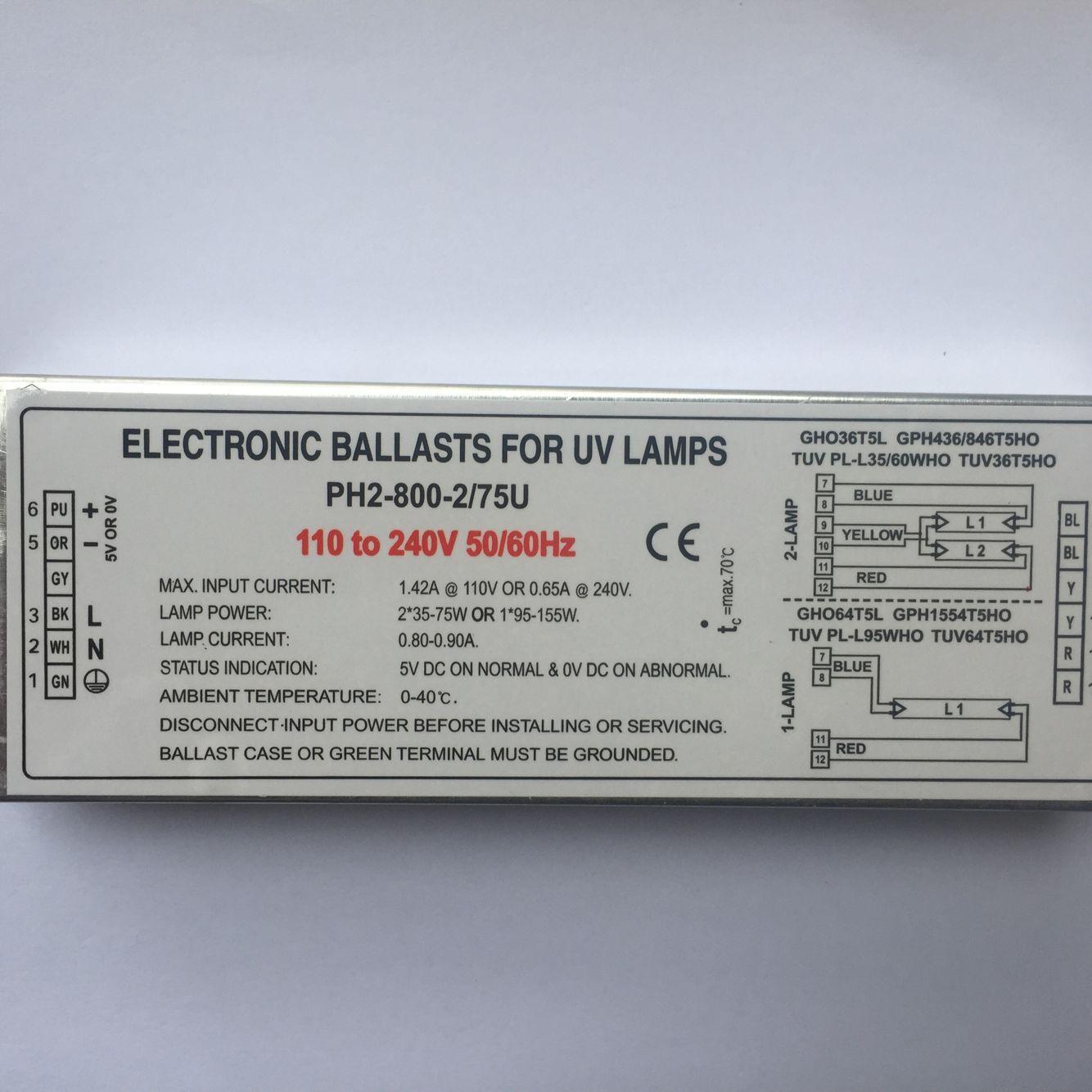 PH12-230-800-2/75 balastos electrónicos de lámpara germicida para lámpara UV GHO36T5L GPH436/846T5HO TUV PL-L35/60WHO TUV36T5HO