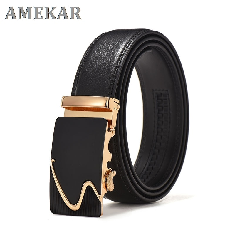 Fashion Brand Leather Belt Business Trouser Strap Pant Ceinture Homme Cowskin Automatic Buckle Cowhi