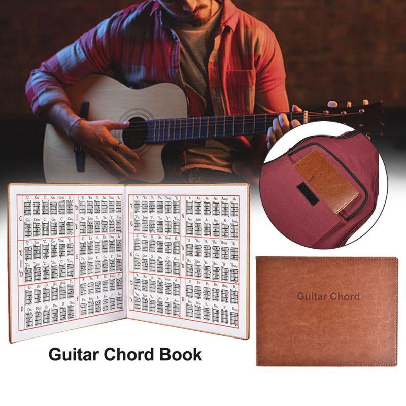 Acordes de guitarra Livro PU LEATHER 6 Corda Tablatura Guitarra Dedo Exercício Folha