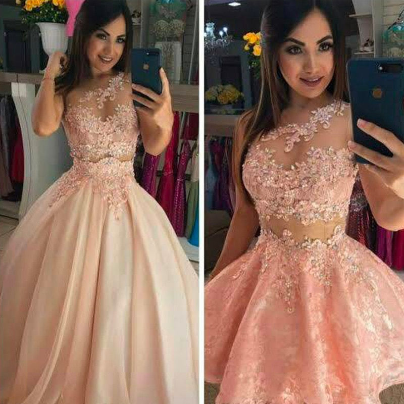 Promo JIERUIZE One Shoulder Detachable Skirt Pink Wedding Dress 2 in 1 removable Train Bridal Gowns Vestidos De Novia