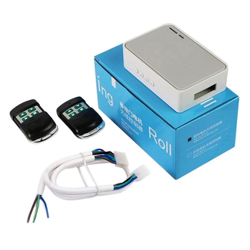 AMS-controlador de Motor Tubular de obturador de puerta de garaje inalámbrico Kit de Control remoto de puerta eléctrica RF433Mhz receptor emisor