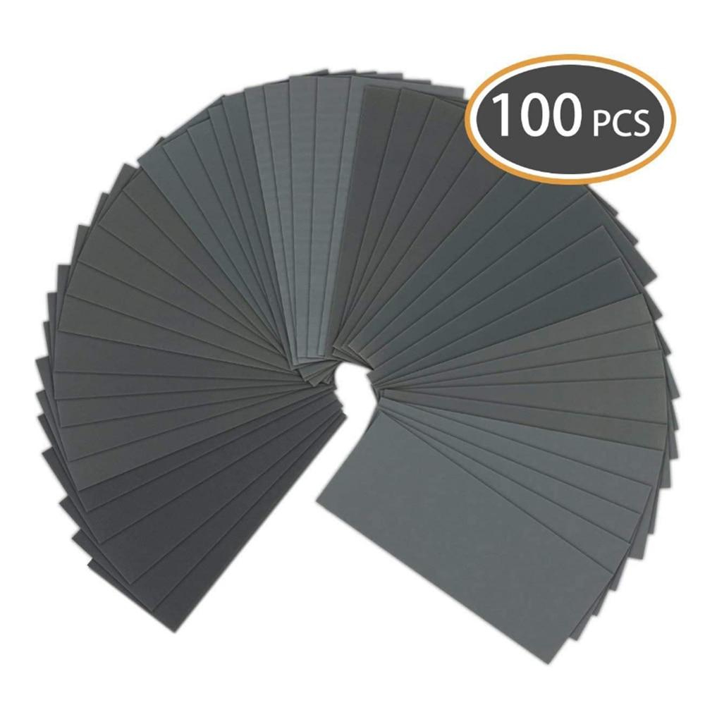100PCS Fine Sand Wear-Resistant Multifunctional Auto Paint Polishing Sand Paper Wet And Dry Dual Use Polished Sandpaper