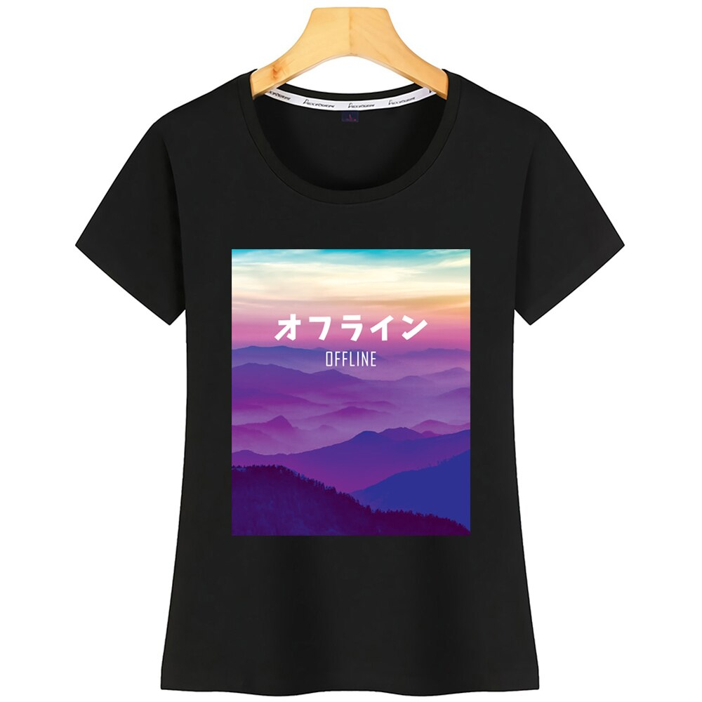 Tops camiseta mujer arte Vaporwave para cyberpunk fuera de línea Kawaii camisetas de algodón