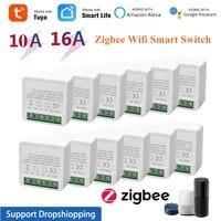 1-30 PIECES 10A 16A Tuya Zigbee Sans Fil MINI Smart Switch Hub Passerelle Minuterie Telecommande Dautomatisation  Fonctionne avec Alexa Google Home