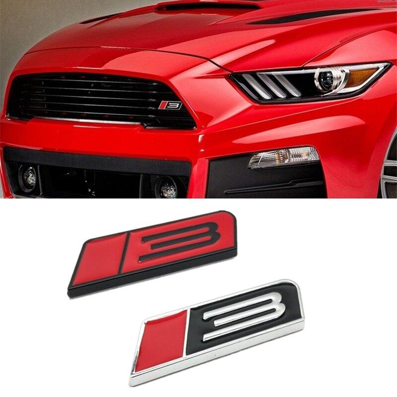 8x2,5 CM estilo de coche 3D Metal Turbo 3 cuerpo etiqueta engomada emblema de parrilla delantera para Ford Mustang ROUSH etapa 3 GT Fiesta Accesorios