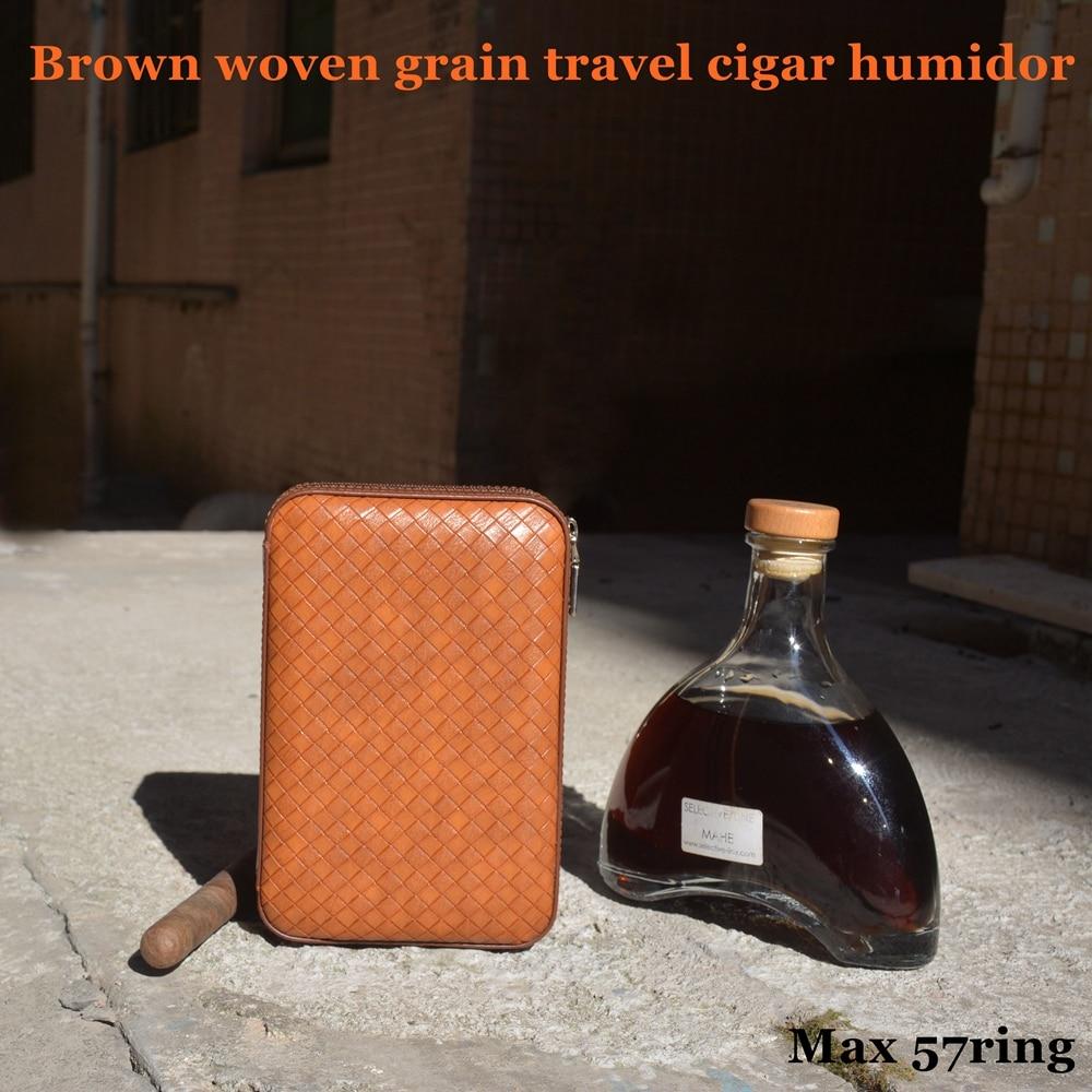100% diseño Original marrón de grano de viaje caja de cigarros de viaje ajuste 4 COHIBA Cuba cigarros de Habanos Max 57 anillo para cigarrillos aficionado