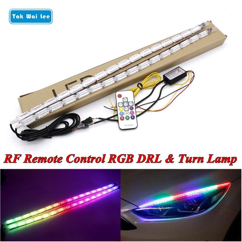 Tak Wai Lee 2X 8 modelos que fluyen RGB luz LED de conducción diurna tira DRL Flexible RF control remoto intermitente lámpara para faro