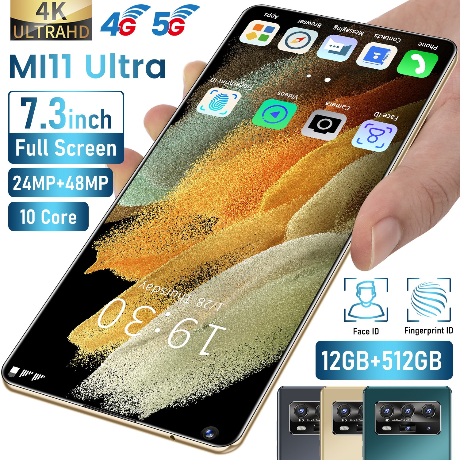 5G Smartphone MI11 Ultra Android11 Snapdragon888 12G 512G 6.8 Inch 48MP Deca Core 4G LTE Global Version Undefined Mobile Phone