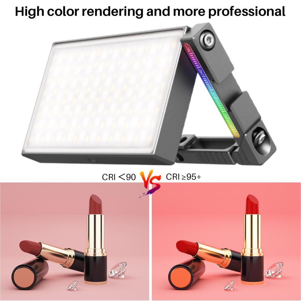 فيجيم R70 كامل اللون المعادن Rgb Led الفيديو الضوئي مع حامل قابل للتعديل جبل Dslr Slr كاميرا ضوء Pd تهمة سريع