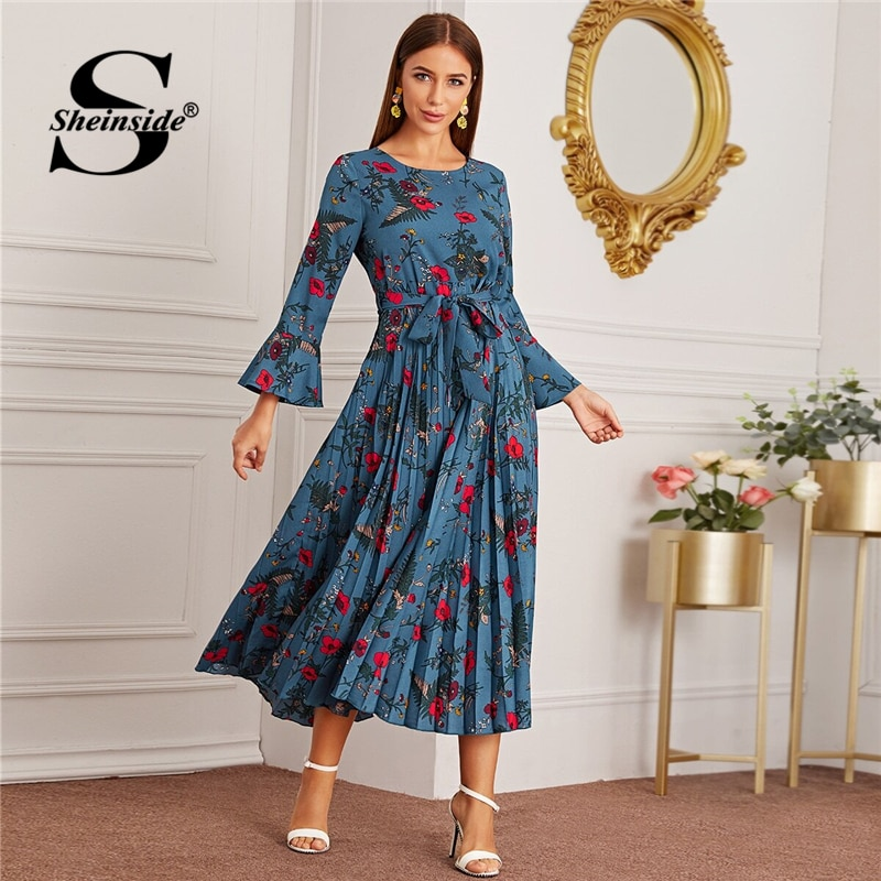 Sheinside, vestido plisado con estampado Floral azul para mujer, otoño 2020, manga acampanada, vestidos de señora con detalle de nudo frontal, Maxi vestido