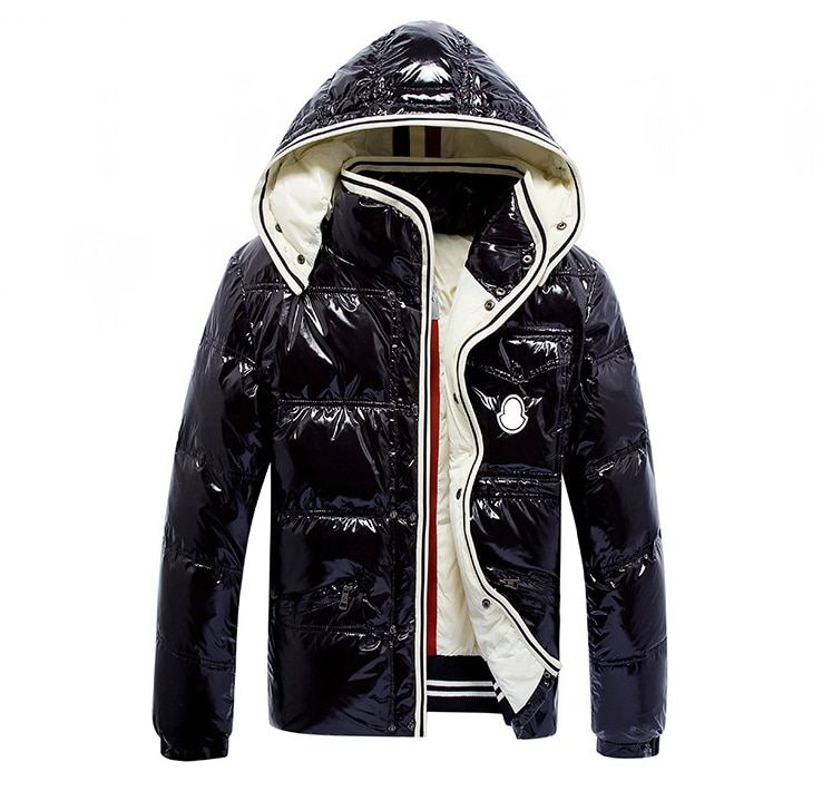 Forever classic Fashion hooded Detachable hat Men's winter down jacket Long sleeve Keep warm Shiny fabric Black and blue