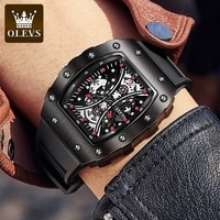OLEVS Men Luxury Watch Tonneau Hollow Sports Quartz Watches Man Fashion Business Waterproof Male Wristwatches Vintage Mens Gift