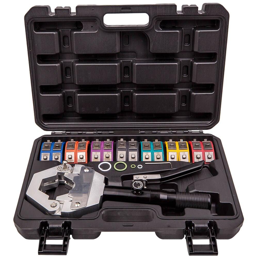 A/c mangueira hidráulica crimper ar condicionado reparação ferramentas de friso mão morrer conjunto acessórios cortador ferramentas kit