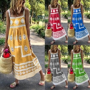 Dress Women Summer Boho Print Beach Holiday Dress Strap Big Swing Maxi Dress Square Collar Draped Dress Momen 2021 Femme Robe