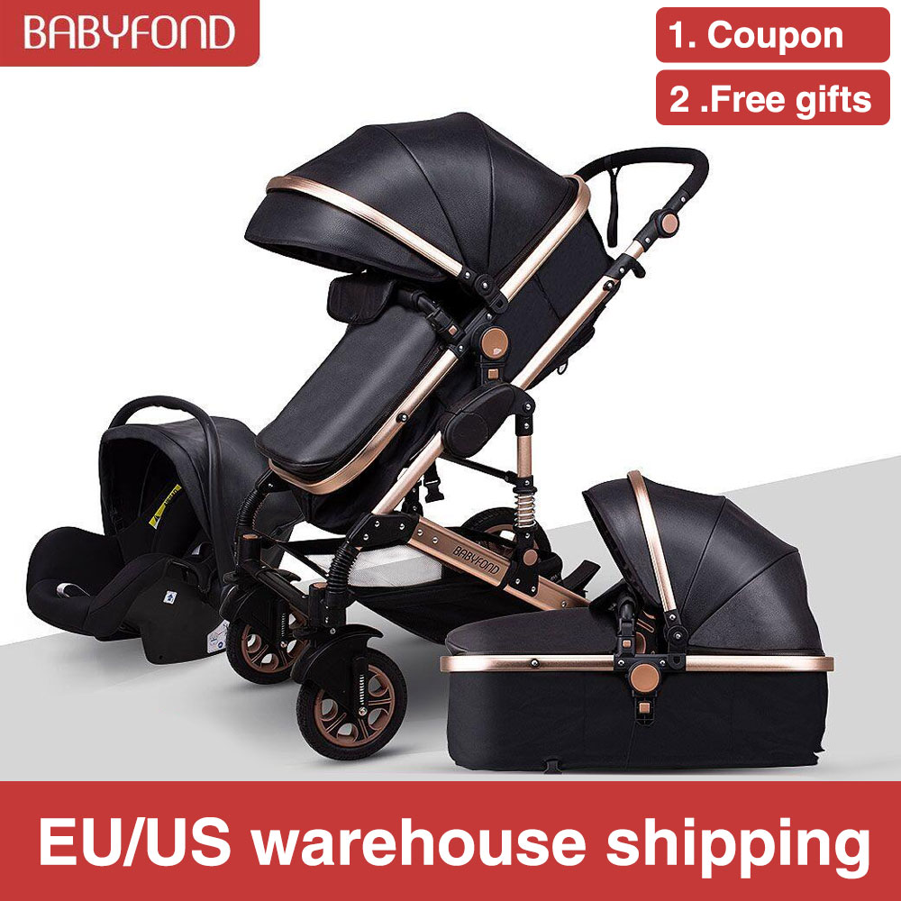 Babyfond-عربة أطفال فاخرة 3 في 1 ، عربة أطفال ذهبية عالية المناظر الطبيعية ، عربة أطفال مريحة لحديثي الولادة