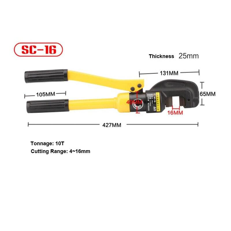 Cortador Manual de barras de acero hidráulico, alicates de corte de 10 toneladas 4-16mm, herramienta Manual, herramientas de construcción