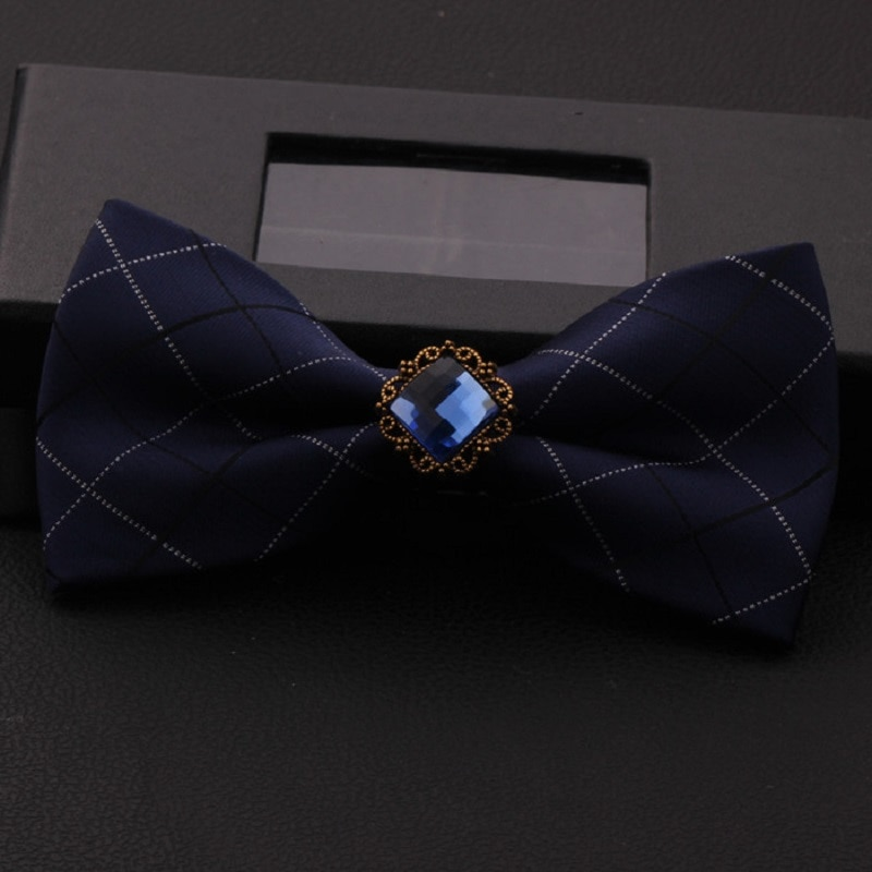 2020 New Fashion Men's Bow Ties Wedding Double Fabric Plaid Navy Blue BowTie Party Gorgeous Formal Butterfly Tie with Gift Box
