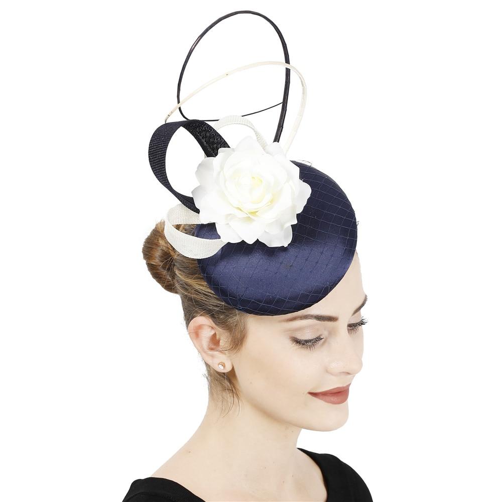 Accesorios para el cabello de color azul marino con marfil chic a la moda fascinator diadema mujeres tocado de boda formal ocasión chuch accesorios para el cabello