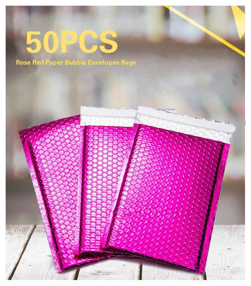 Rosa Roja Poly Bubble Mailer sobres acolchado bolsa de correo auto sellado bolsa de embalaje regalo Wrap almacenamiento 15X13 + 4cm espacio utilizable