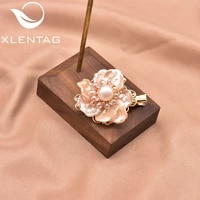 xlentag natural pink baroque flower pearl hairpin womens gift hand made luxury exquisite wedding birthday jewelry gift gh0017a