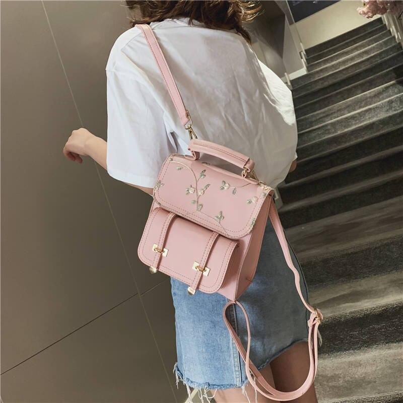 Bolso cruzado WENYUJH para mujer, bolso de hombro de cuero de PU para adolescente, bolso de viaje para mujer, mochila escolar para mujer