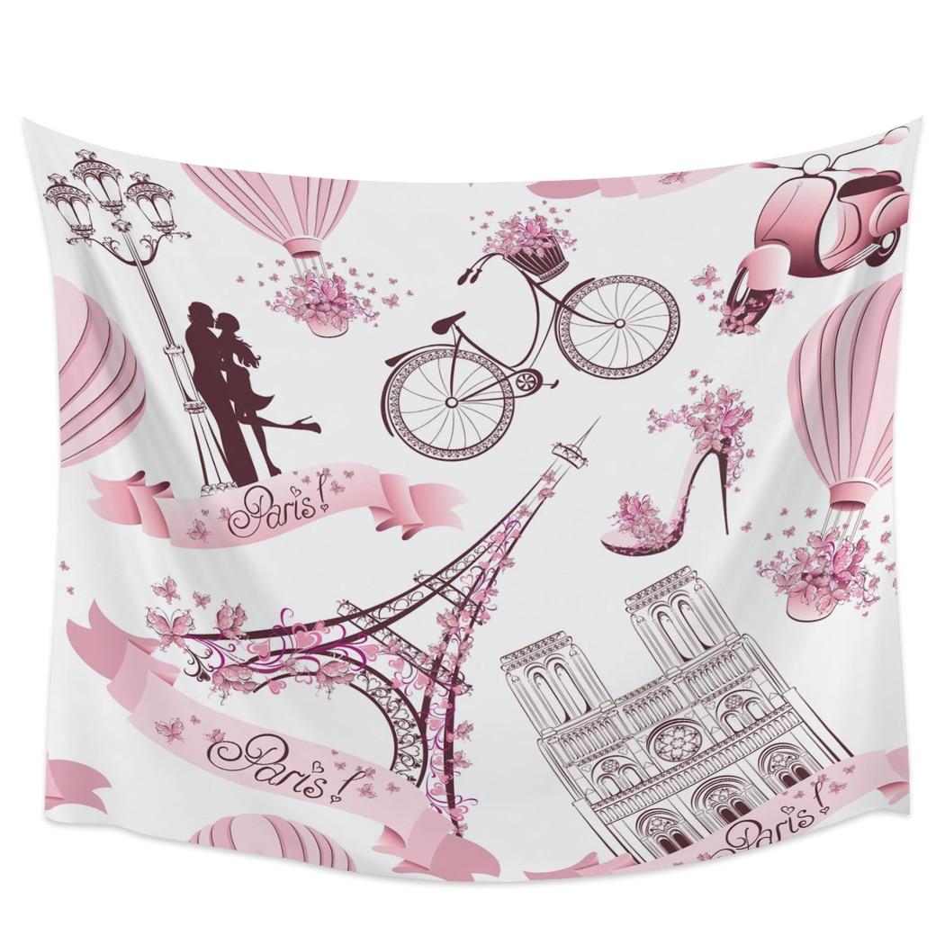 Pink Tie Ride Flowers Hot Air Balloon Bike Wall Decor Bedspread Coverlet Blanket Bedding Curtain Towel Sheet Scarf Throw