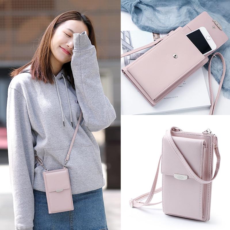 Кошельки для женщин однотонные кожаные, сумка-мобильный телефон на ремне, кредитницы, сумочки с кармашками для девушек, 2021