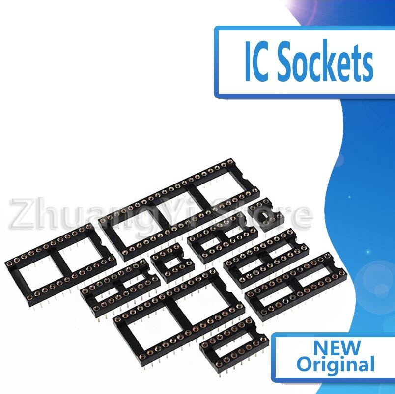 10 Uds agujero redondo IC conectores DIP6 DIP8 DIP14 DIP16 DIP18 DIP20 DIP28 DIP40 pines conector de enchufe DIP 6 8 14 16 18 20 24 28 40 pin