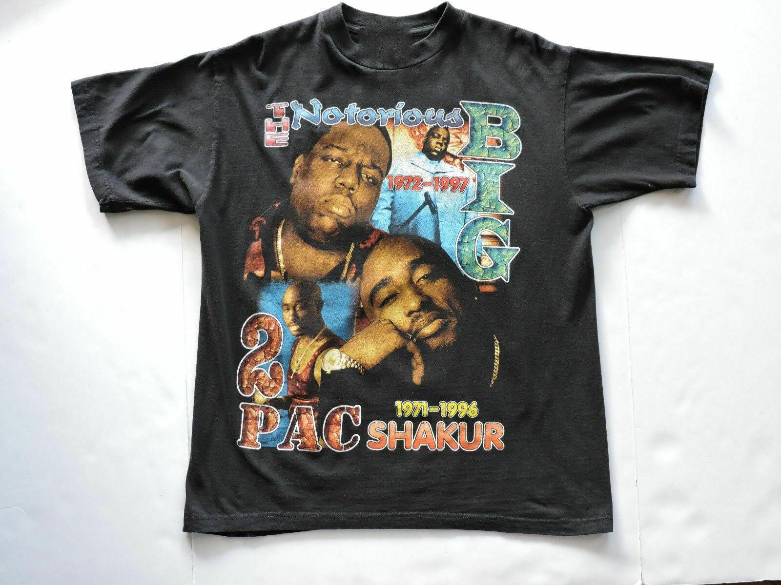 Vtg 90S 2Pac Tupac Biggie célèbre grand Rap Hip Hop t-shirt voulu Makaveli