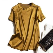 2020 New Fashion Summer Women Womens 100%Silk Satin Tee T Shirt SO0058