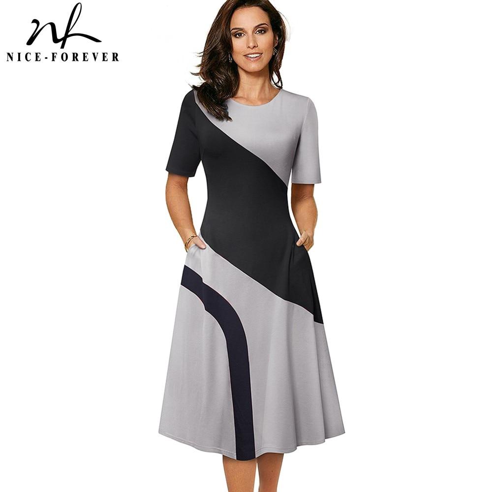 Nice-forever-فستان ترابيز مرقع بألوان متباينة ، فستان ربيعي واسع ، ملابس عمل نسائية A239
