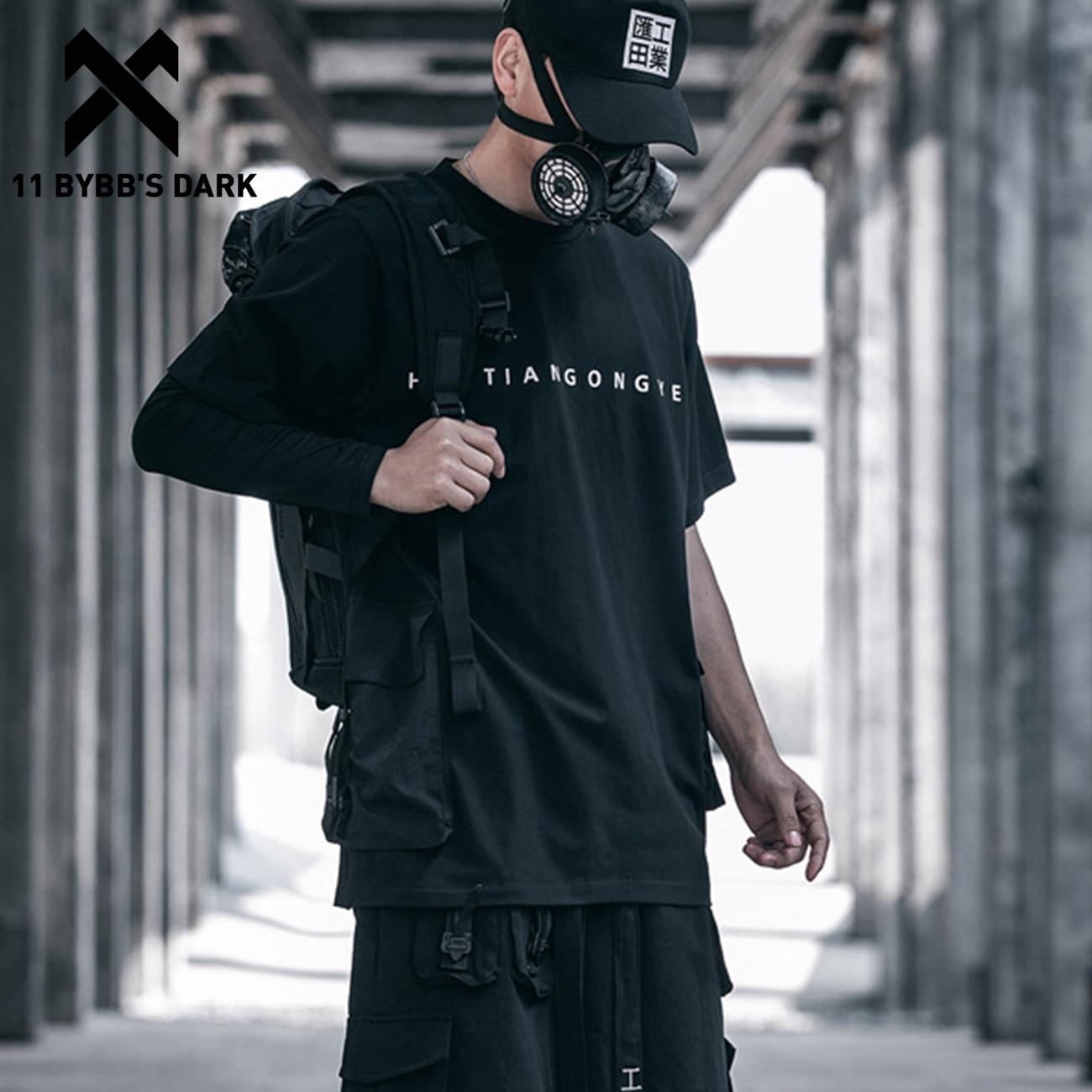 Camisetas con bolsillos tácticos de Hip Hop de 11 BYBBS, ropa de calle holgada de gran tamaño 2020 para hombre, pantalón corto informal de manga negra